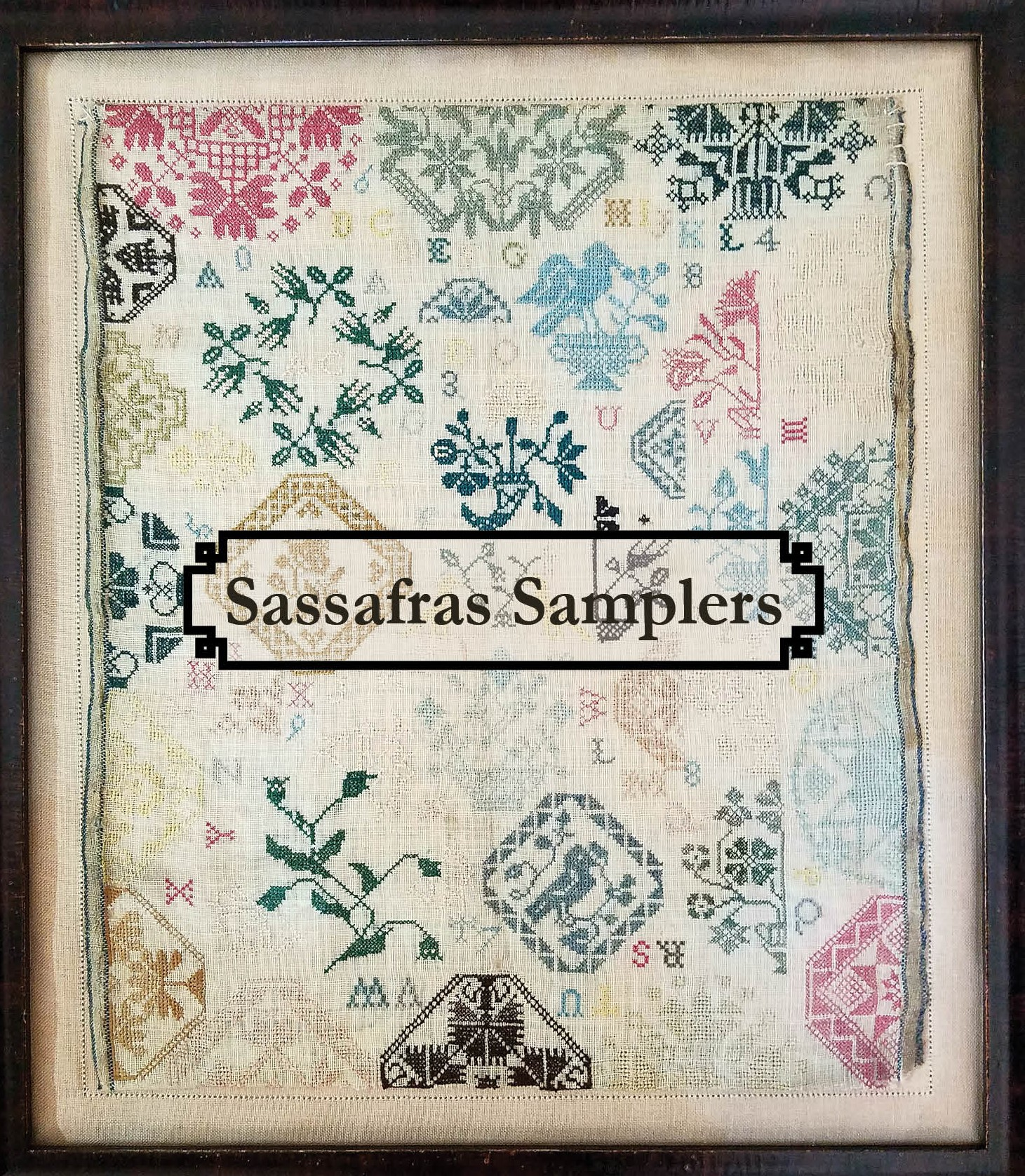 Fabric For Ac Bluebird Quaker Sampler Sassafras Samplers